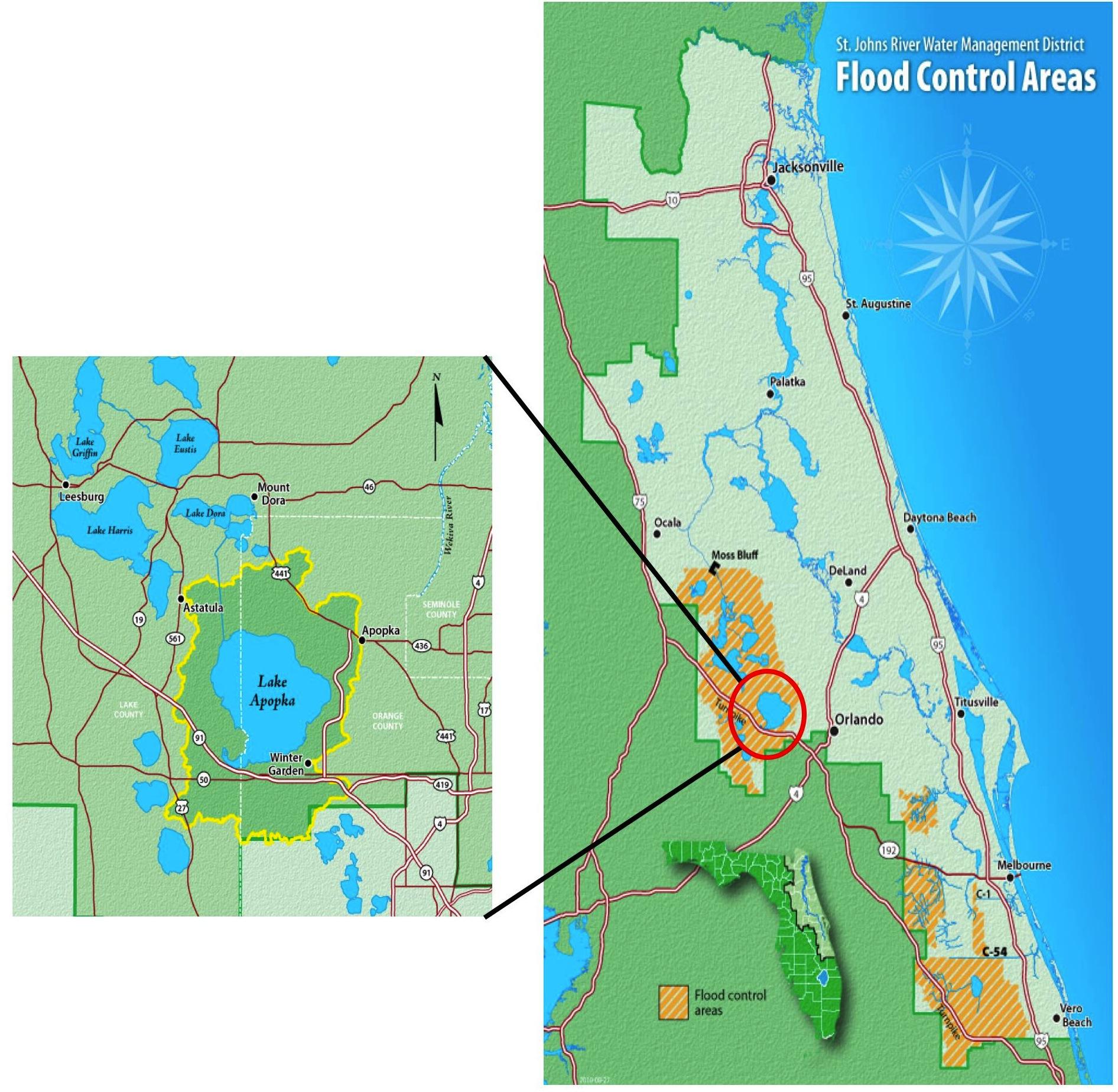 GULF TO GULF  Lake Apopka - Florida map location